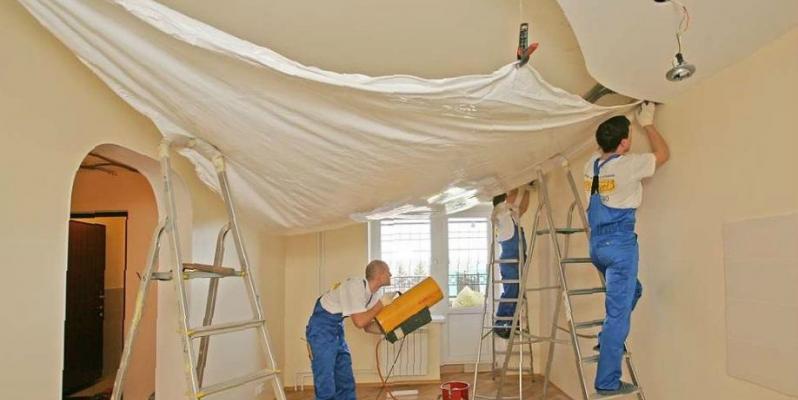Гарпунный способ натяжки потолков - фото