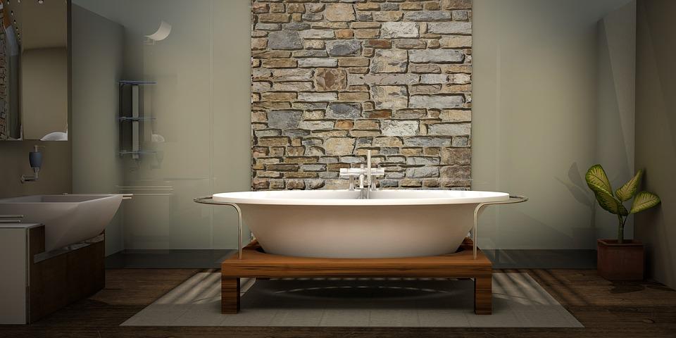 Отделка ванной комнаты камнем - фото
