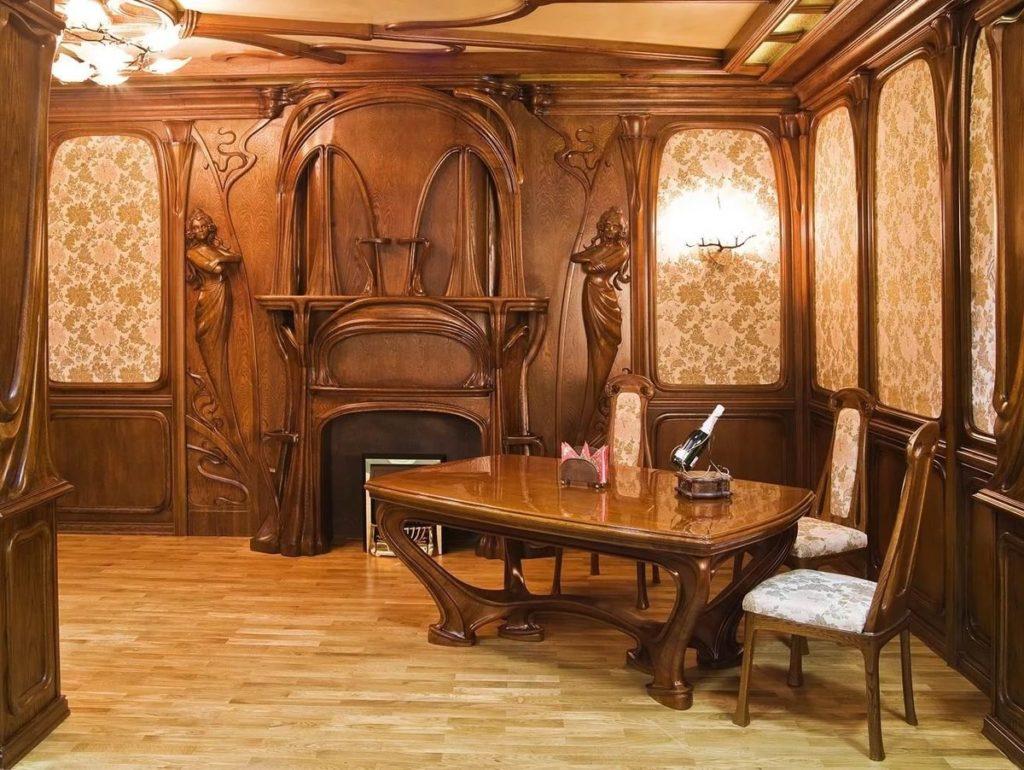 Интерьер столовой, отделка, мебель, всё в стиле арт-нуво